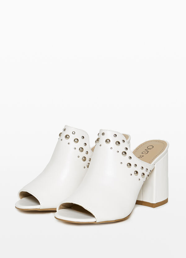 Sabot sandals with heel and studs