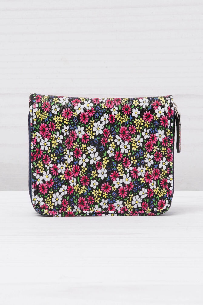 Floral wallet with zipper and button.