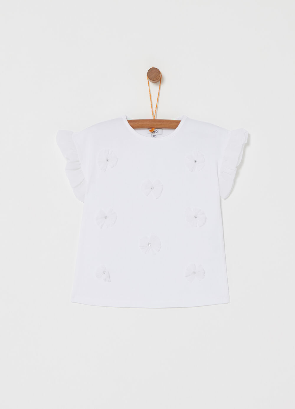 T-shirt with pleated tulle sleeves and diamantés