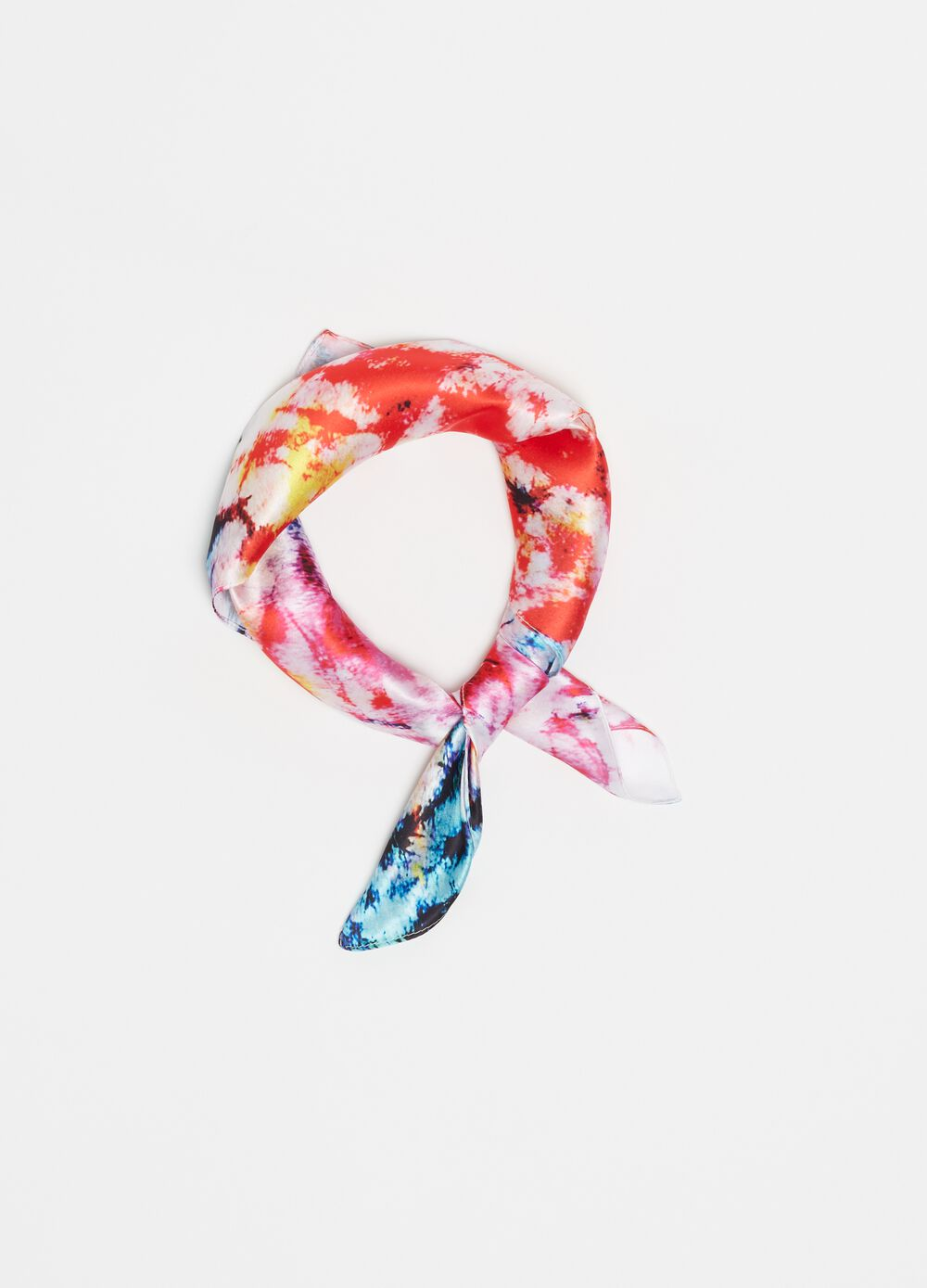 Tie-dye patterned foulard