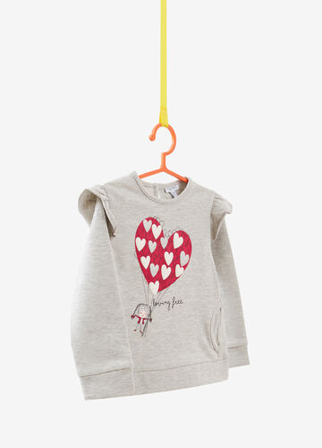 Mélange sweatshirt with hearts and balloons