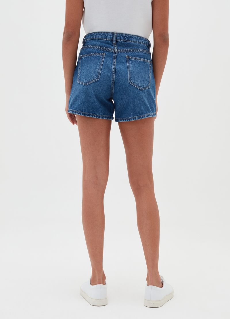 High-waisted denim shorts image number null