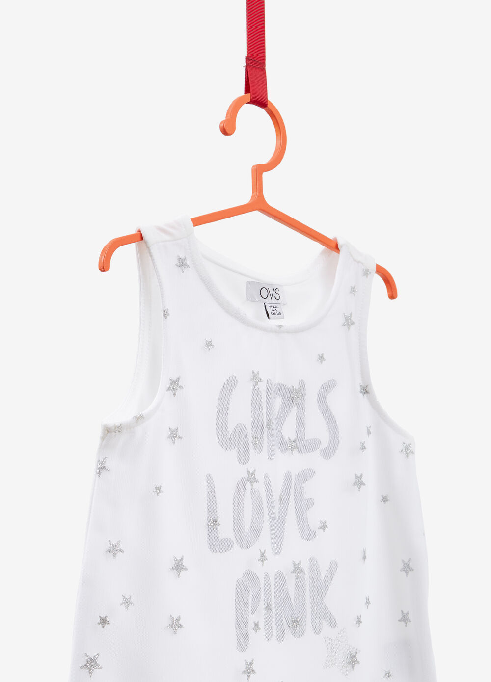 Stretch cotton top with glitter stars