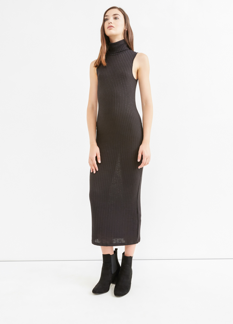 Long ribbed dress in stretch viscose image number null
