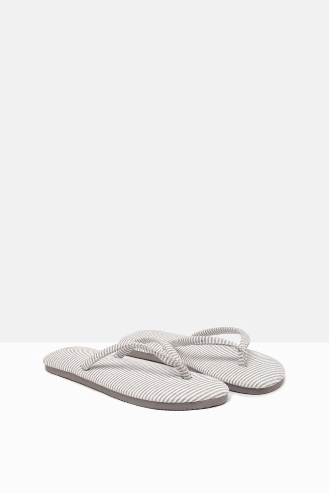 Striped pattern thong sandals