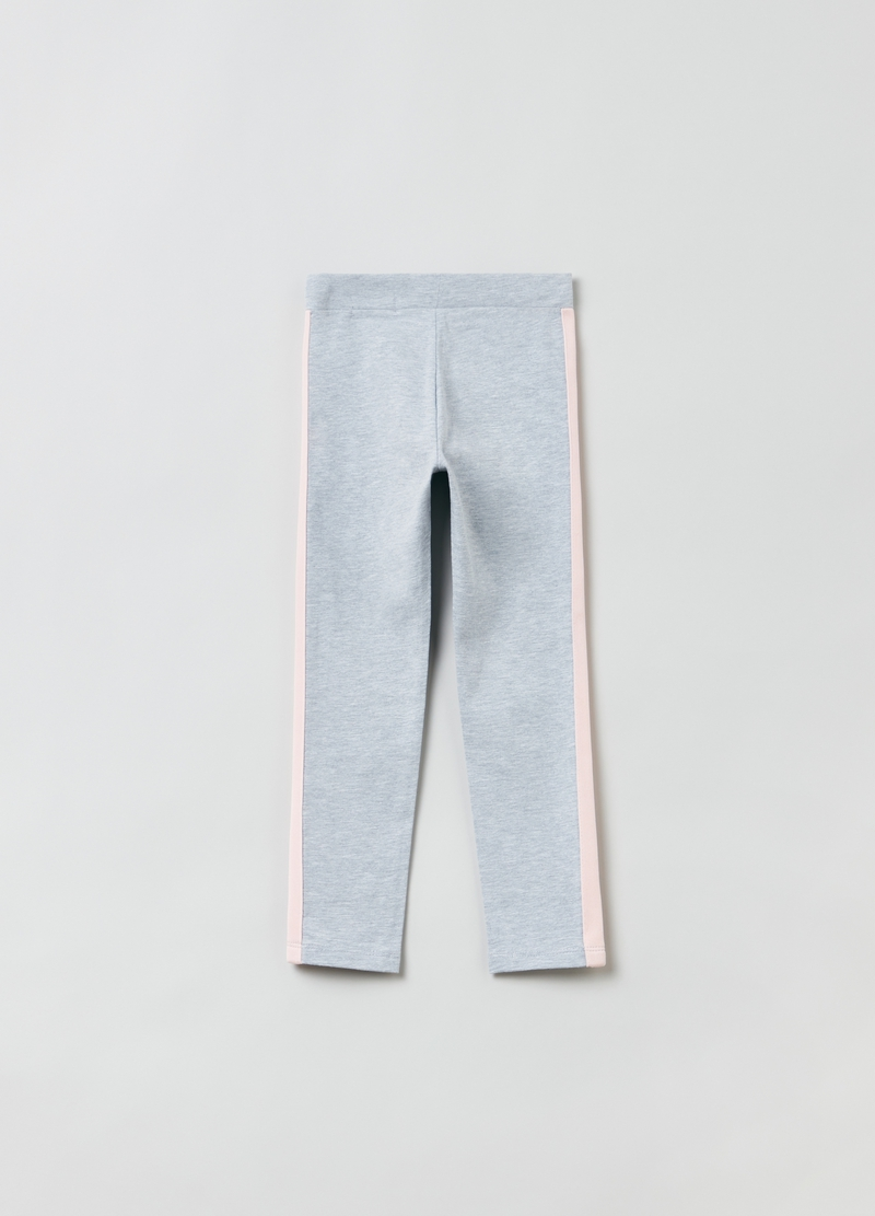Mélange leggings with contrasting bands image number null