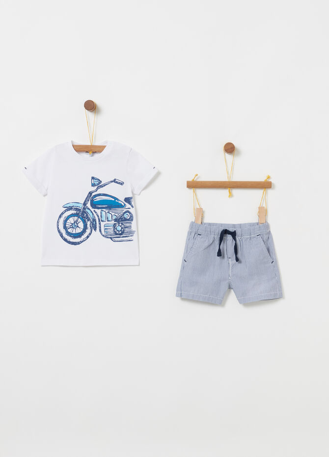 Jogging set with biocotton T-shirt and shorts with stripes