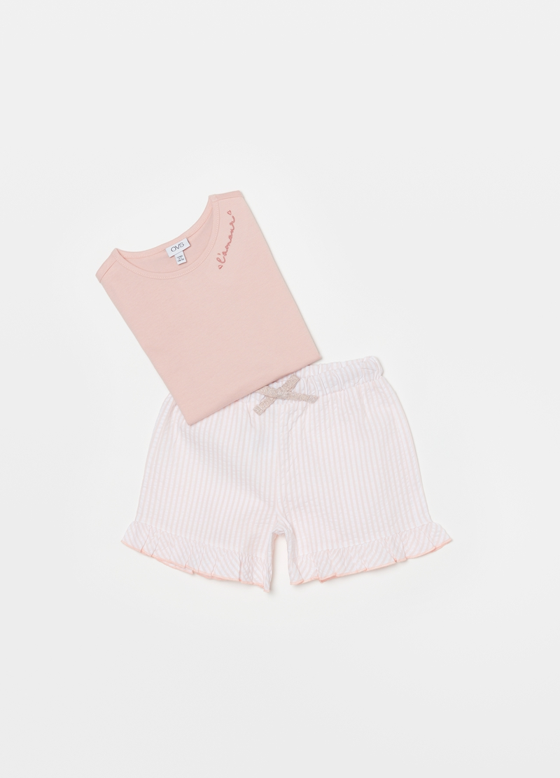 Short pyjamas with seersucker shorts image number null