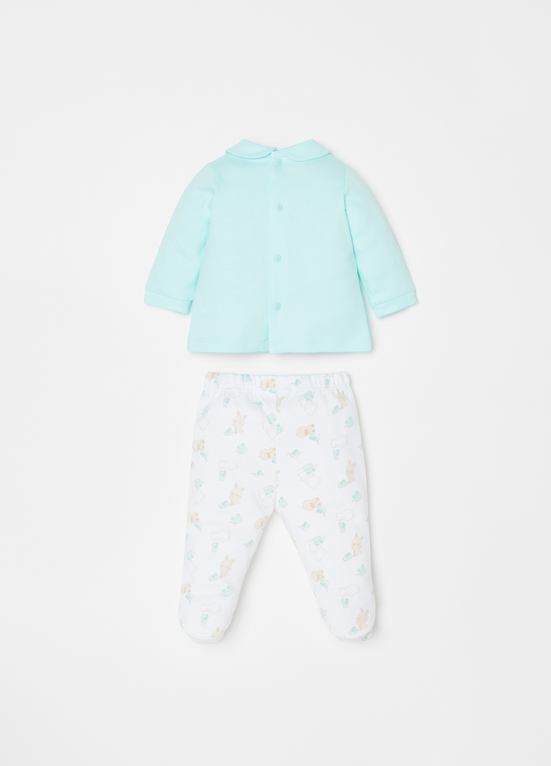 T-shirt and trousers with feet set in organic cotton image number null