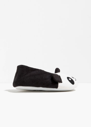 Two-tone ballerina slippers with panda