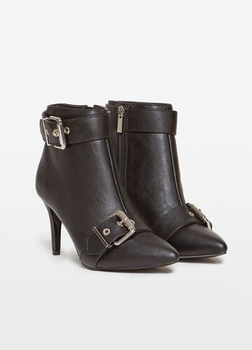 Pointed ankle boots with buckles and zip