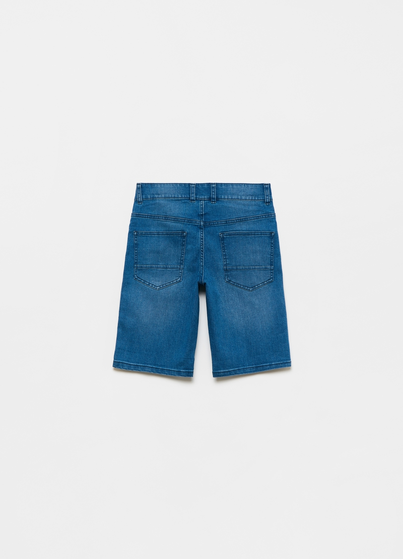 Denim Bermuda shorts with side bands image number null