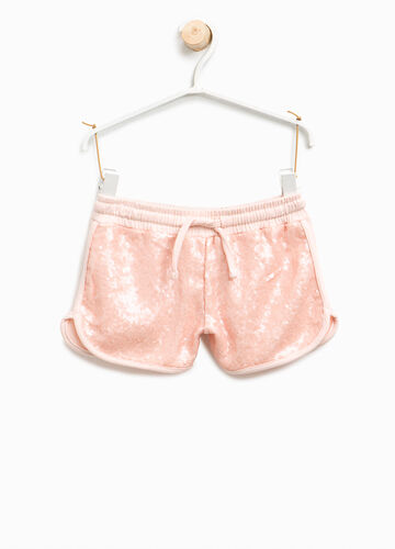 Shorts in cotton with sequins