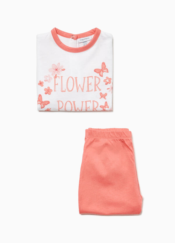 Cotton pyjamas with floral lettering print
