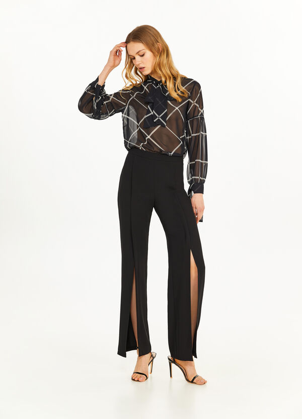 Semi-sheer blouse with laces