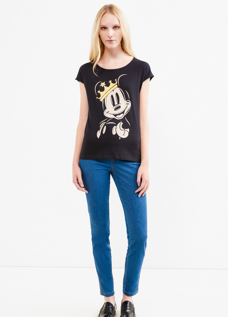 T-shirt cotone stampa Mickey Mouse image number null