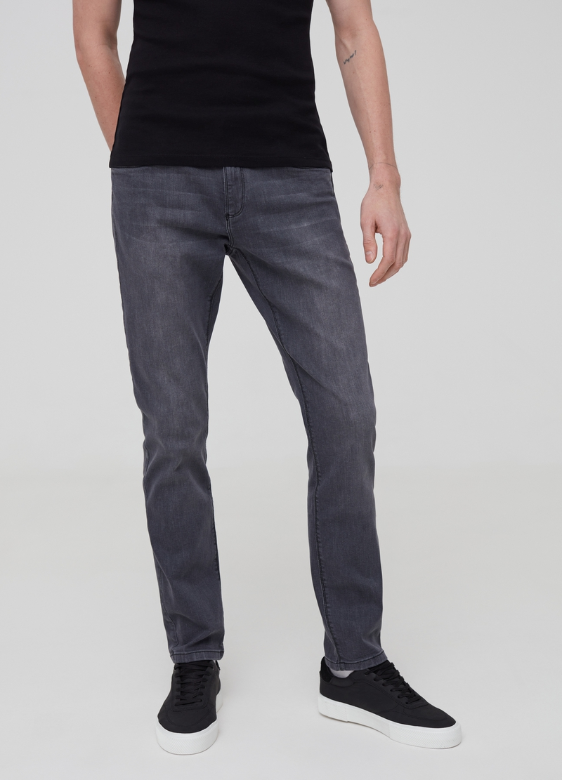 Mis-dyed effect skinny-fit stretch jeans image number null