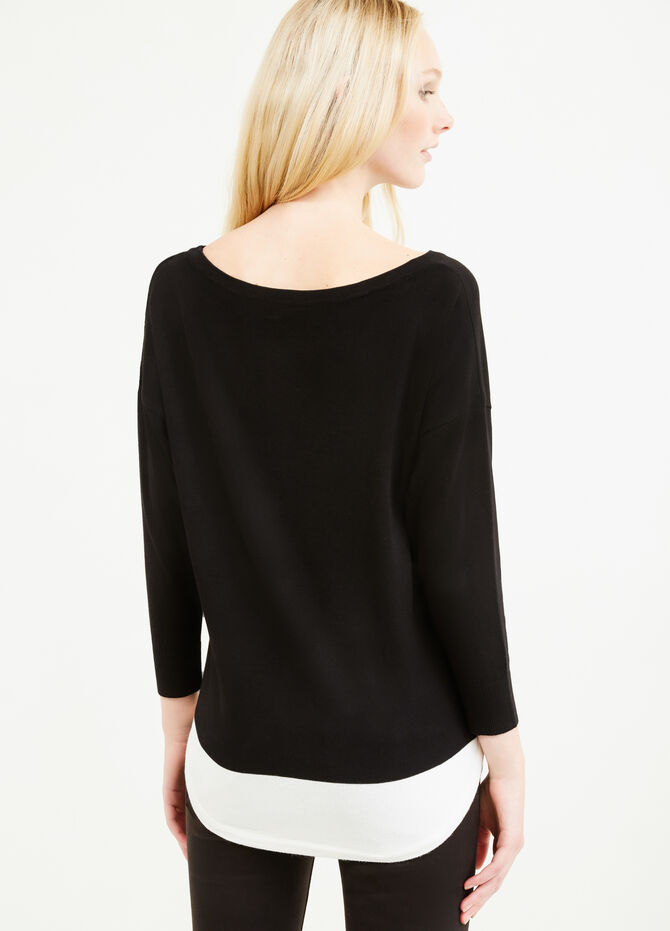 Viscose blend pullover with three-quarter sleeves