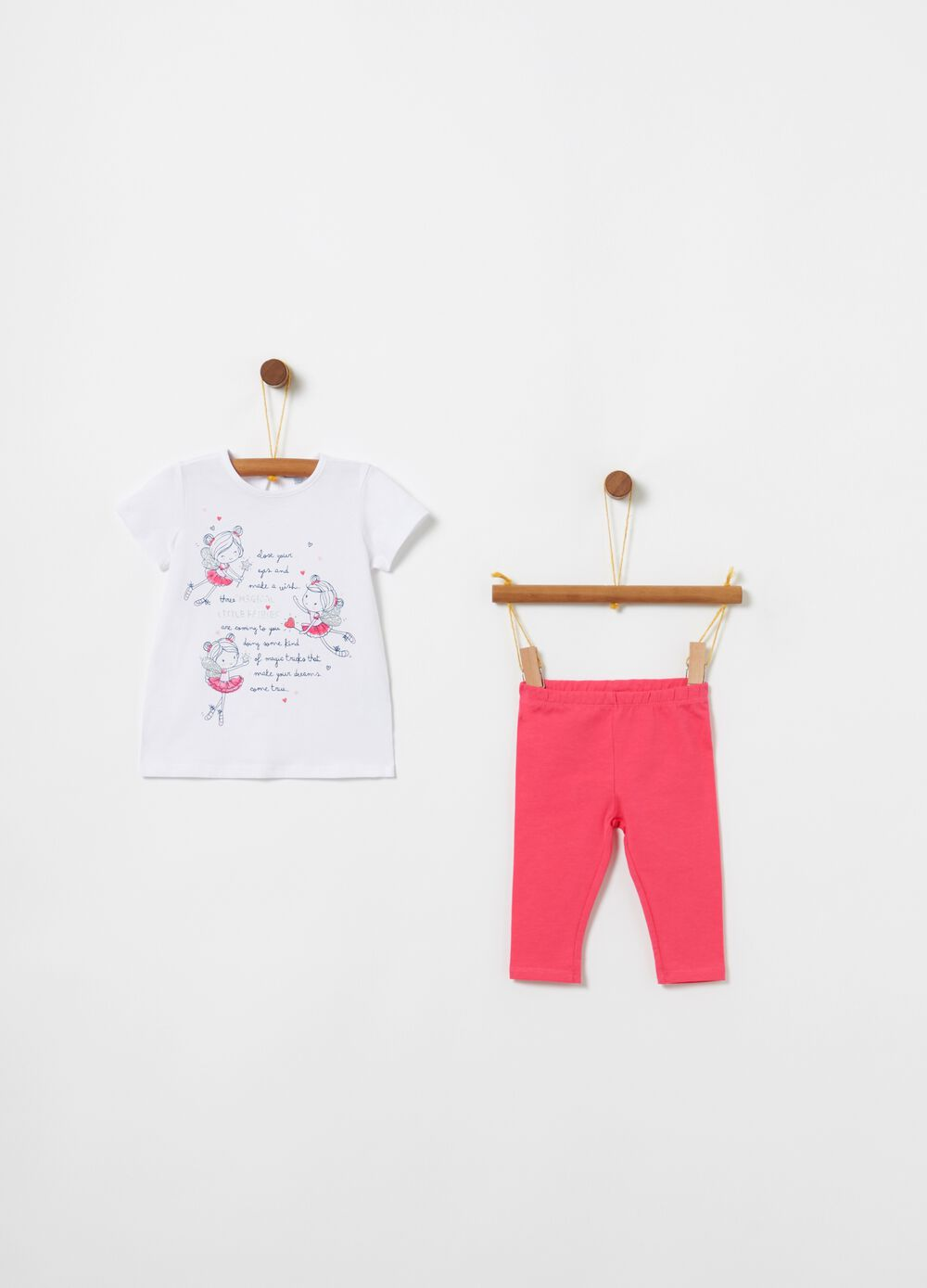 Jogging set t-shirt stampa e leggings