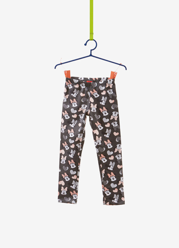 Stretch cotton leggings with Minnie mouse print
