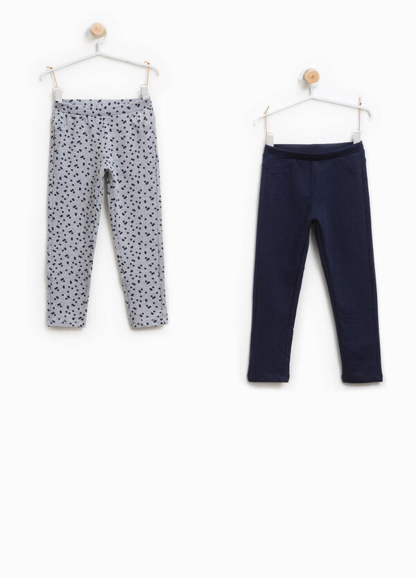 Two-pair pack solid colour and polka dot trousers | OVS