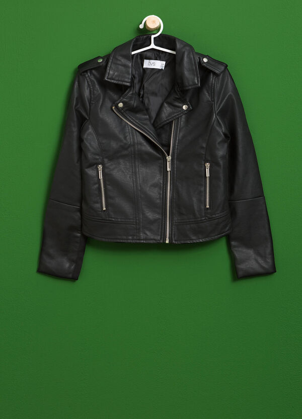 Leather-look jacket with lapels | OVS