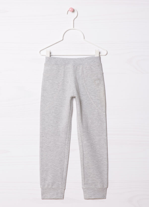 Pantaloni tuta stretch con strass