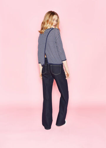 Pullover in linen blend with striped pattern