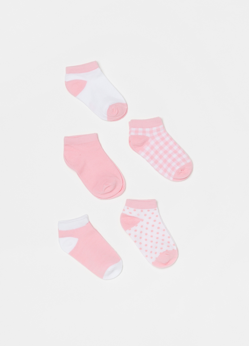 Five-pair pack shoe liners with polka dots and check pattern image number null