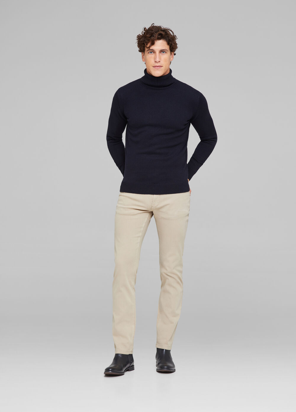 Slim-fit trousers in cotton canvas