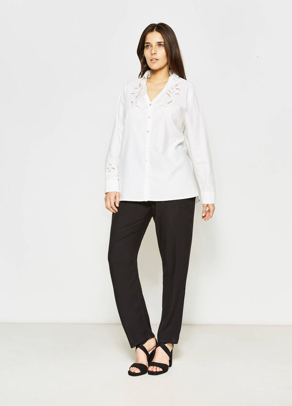 Curvy shirt with openwork insert | OVS