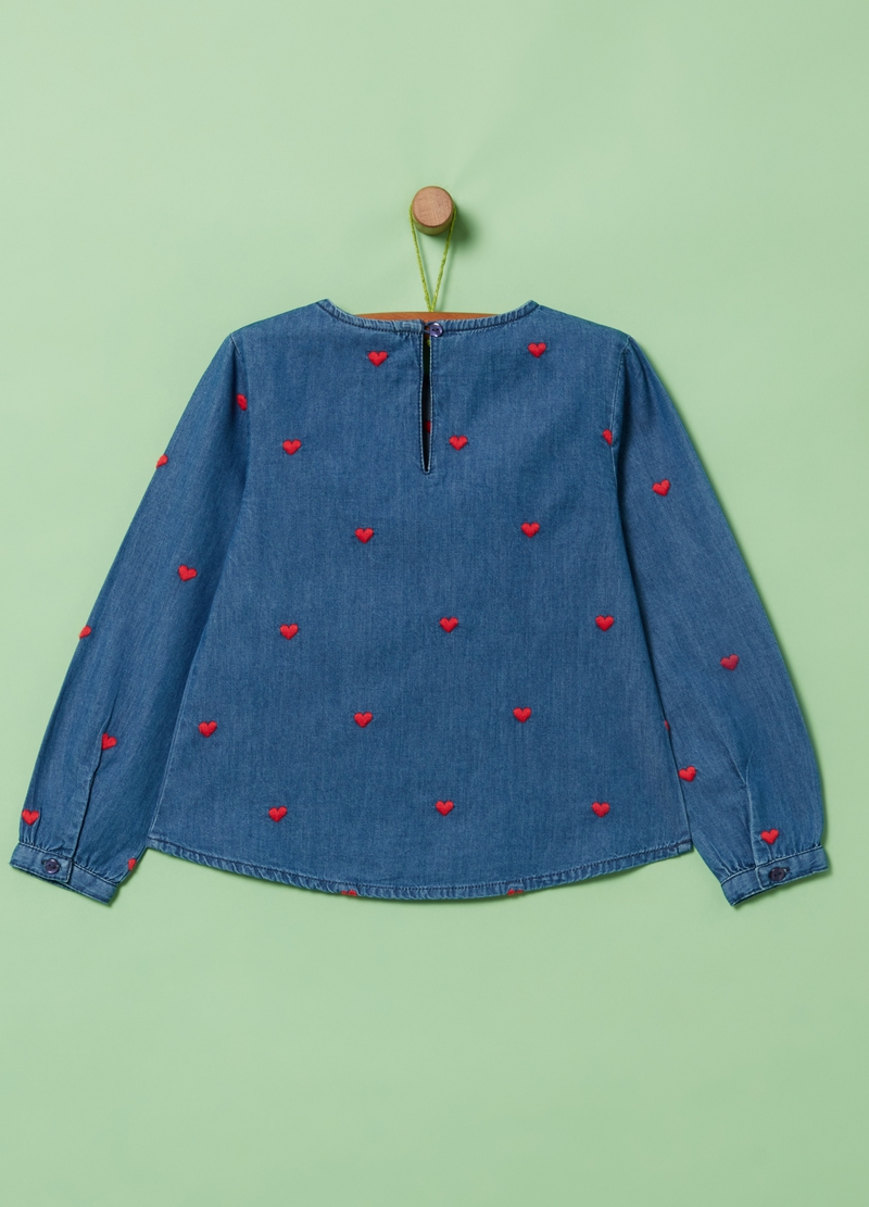 Denim blouse with hearts embroidery image number null