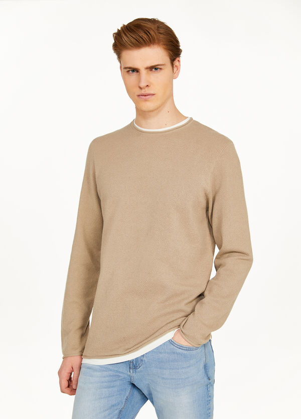 100% cotton pullover with roll-up edges