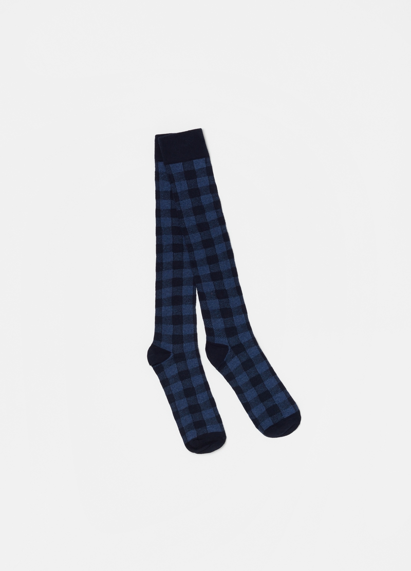 Five-pair pack long cotton blend socks with pattern image number null