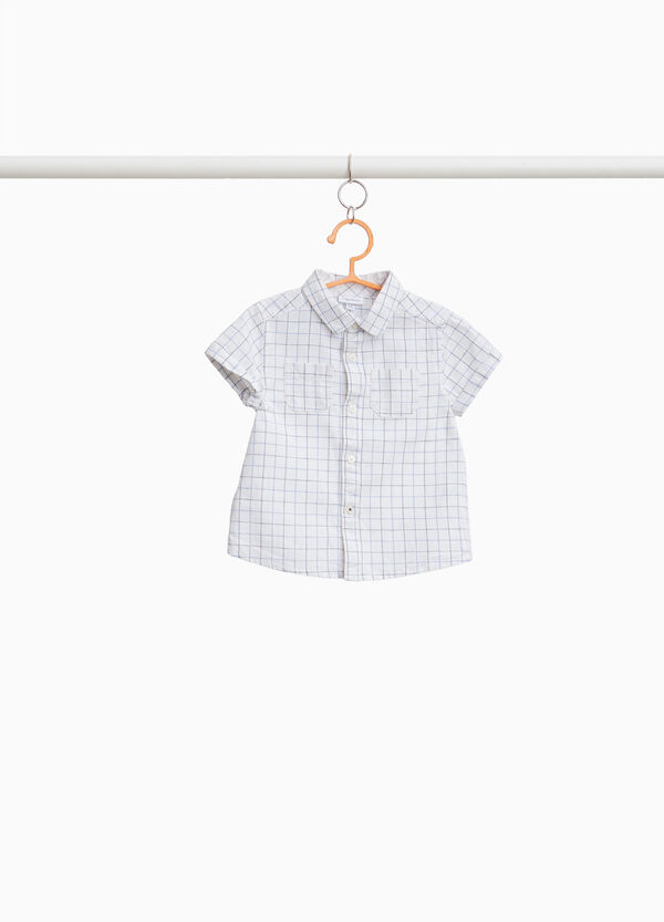 Check cotton and linen shirt