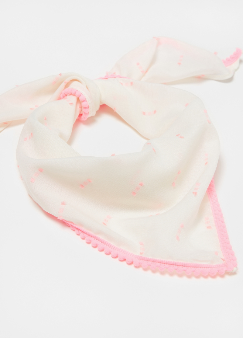 Foulard with pattern and mini pompom image number null