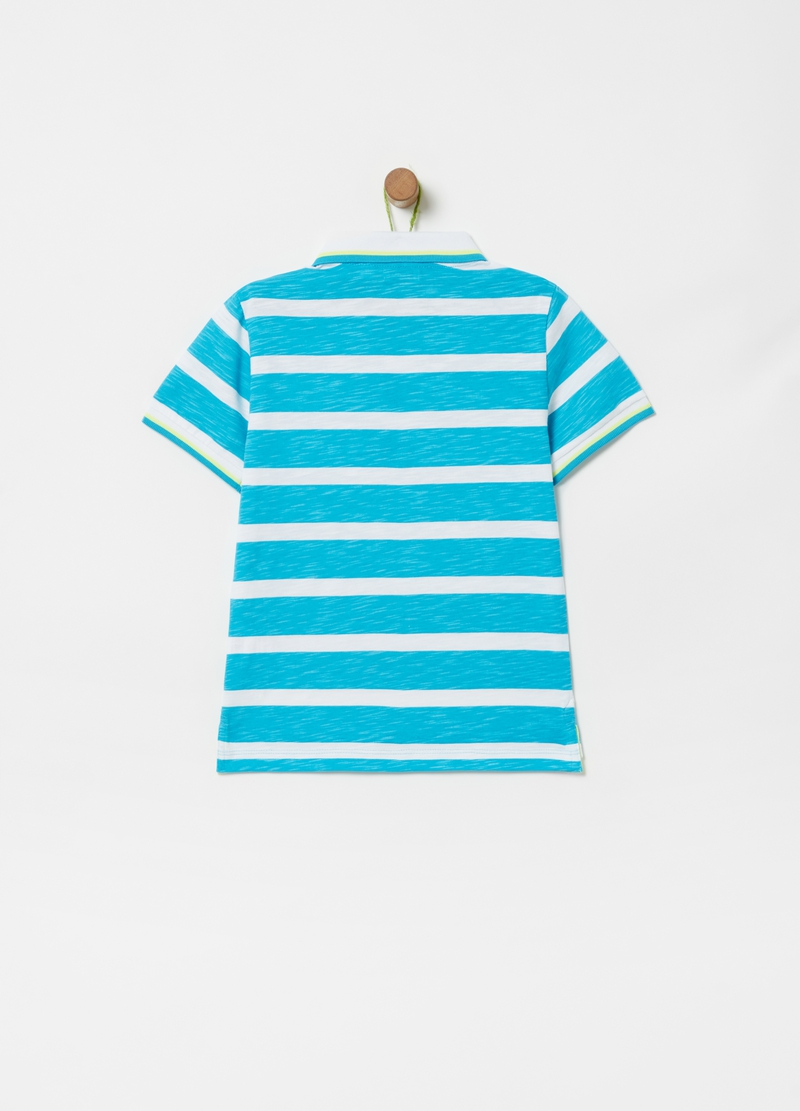 Striped polo shirt in 100% organic cotton image number null