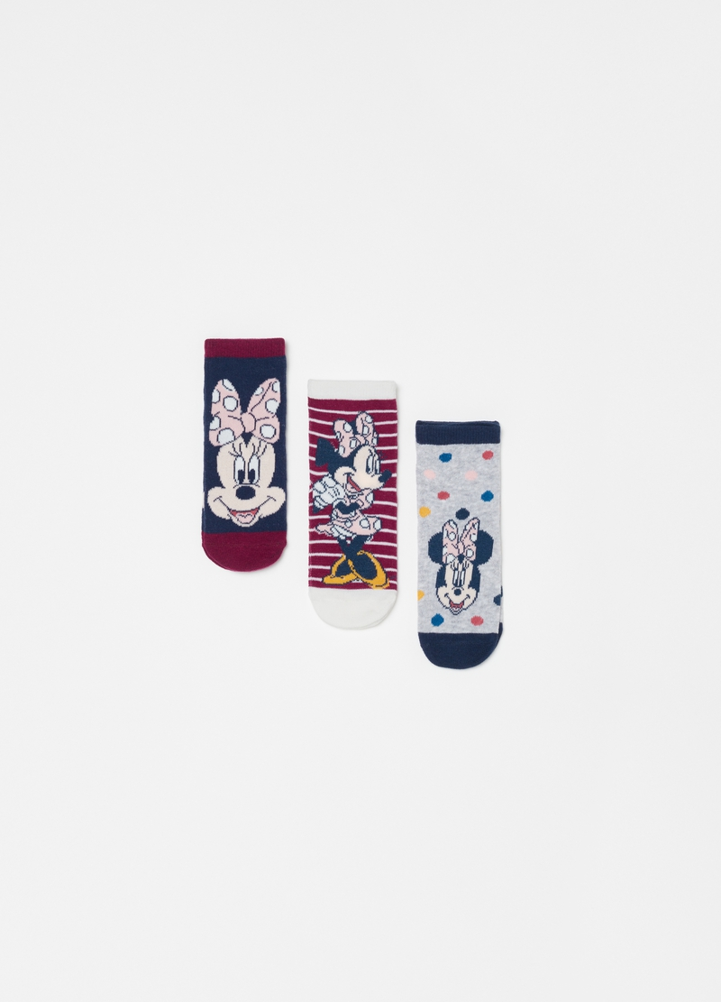 Three-pair pack short socks with Disney Minnie Mouse pattern image number null