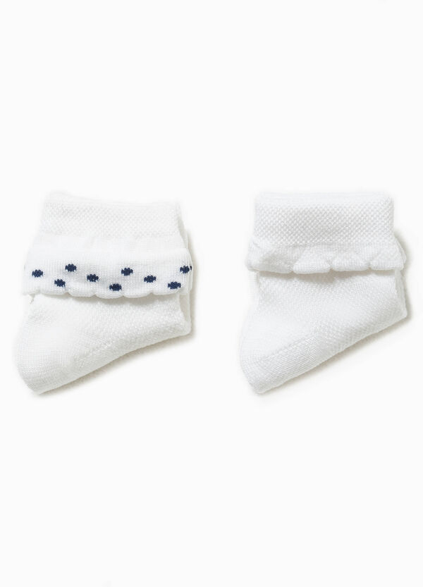Two-pair pack solid colour socks with embroidery | OVS