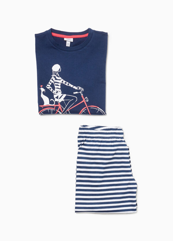 Pyjamas with bicycle print and stripes