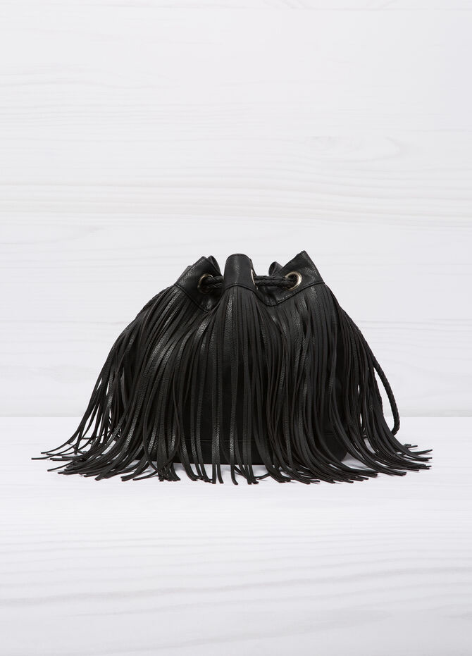 Bucket bag with fringe