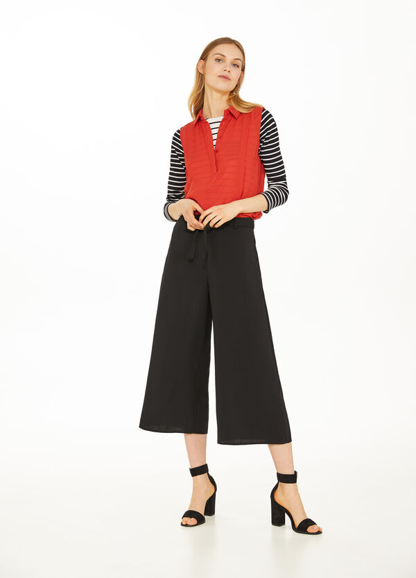 Crop palazzo trousers with jacquard
