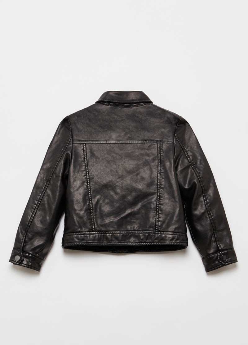 Faux leather jacket with small studs image number null