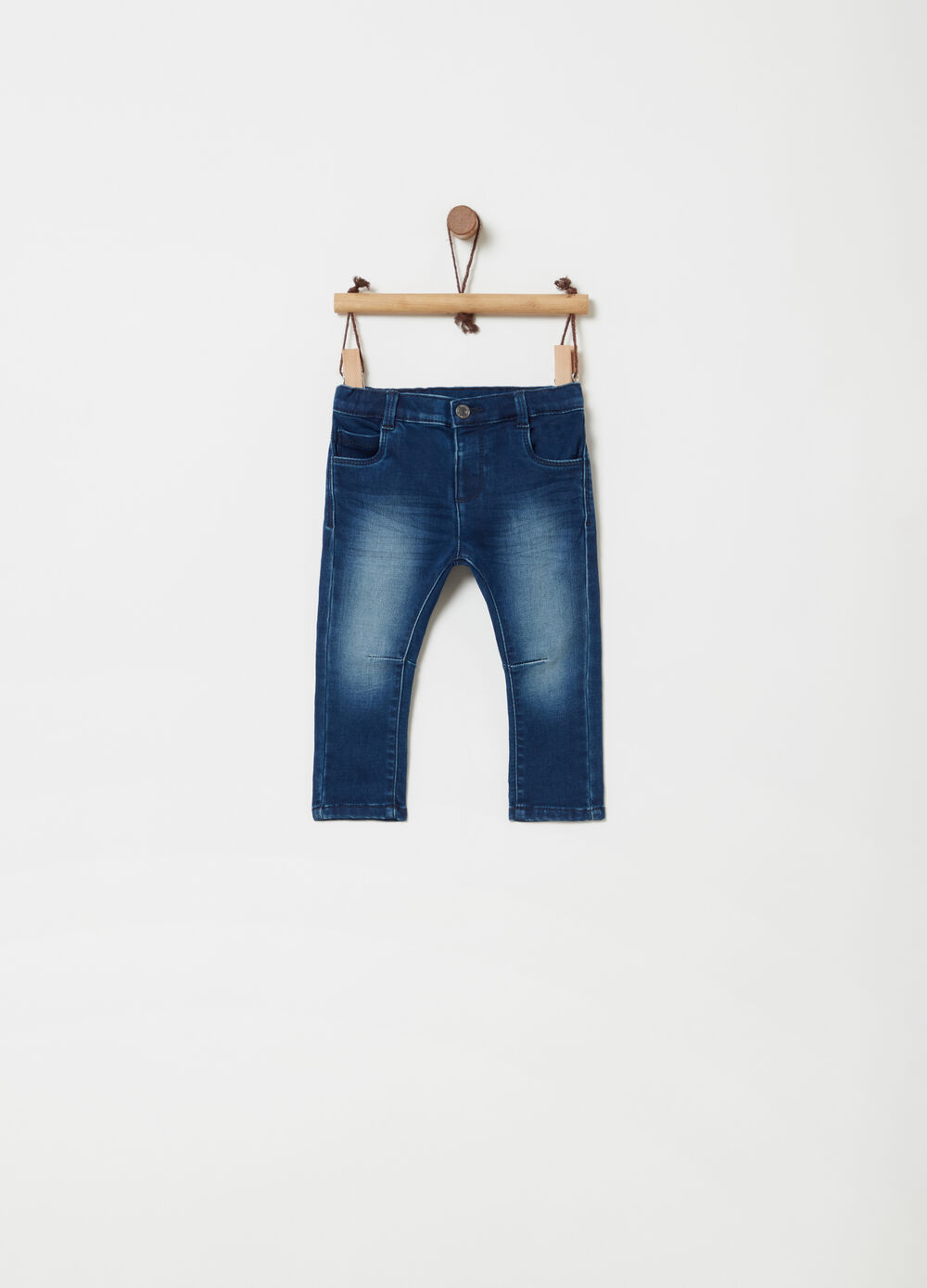 Washed-effect regular-fit stretch jeans