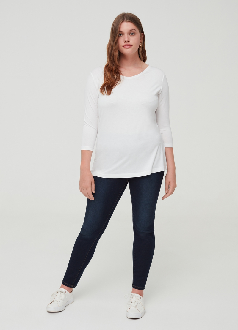 Curvy stretch T-shirt with three-quarter sleeves image number null