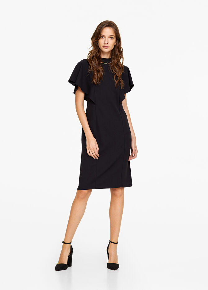 Stretch dress with flounce and sleeves