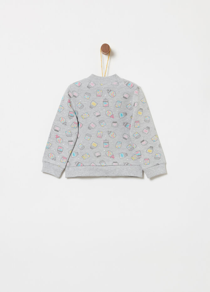 Full-zip sweatshirt in stretch cotton with print