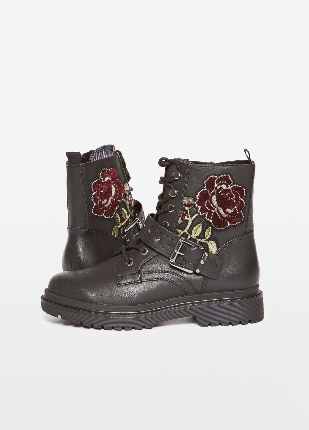 Ankle boots with floral embroidery
