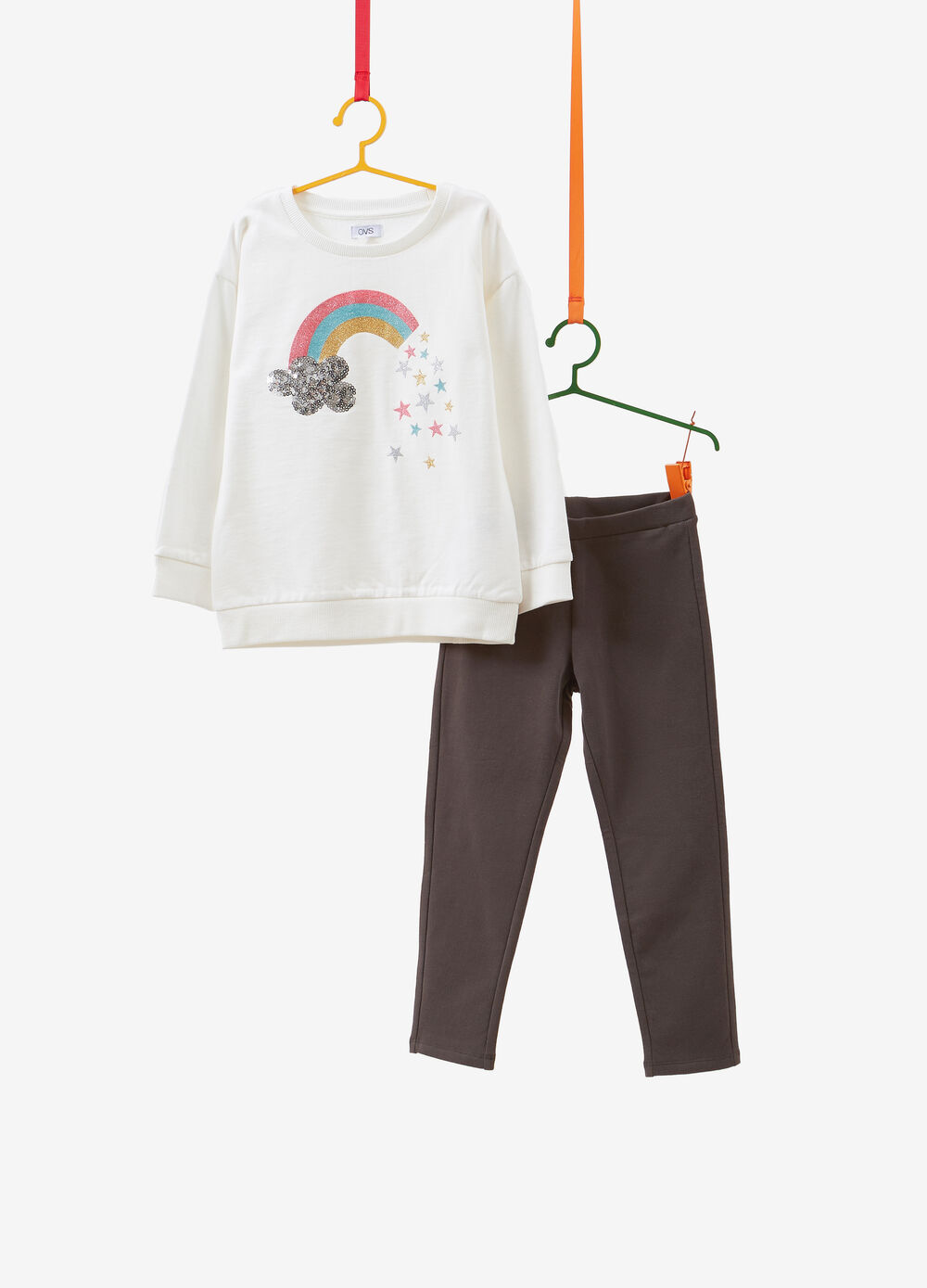 100% cotton tracksuit with rainbow print