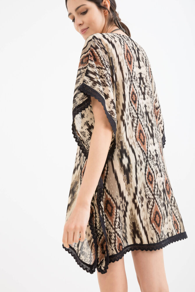 Patterned beach cover-up in 100% cotton